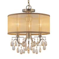 Crystorama Hampton Collection 3-light Antique Brass Mini Chandelier