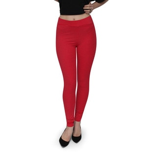 Bluberry Women's Red and Silver Pin Stripe Everyday Legging