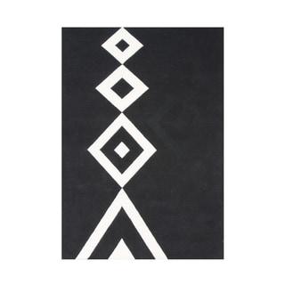 Alliyah Handmade New Zealand Blend Wool Classic Black Geometric Rug ( 5' x 8' )