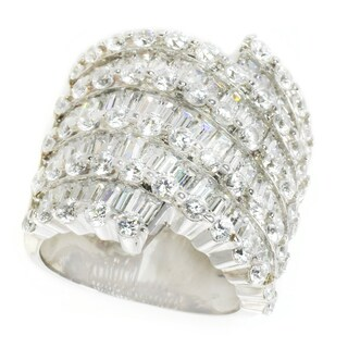 Michael Valitutti Sterling Silver Baguette & Round Cubic Zirconia Ring