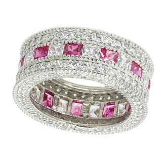 Michael Valitutti Sterling Silver Created Pink Sapphire & Cubic Zirconia Ring