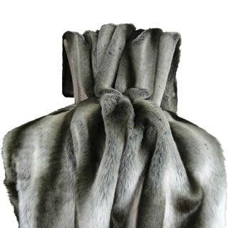 Plutus Gray Chinchilla Faux Fur Handmade Throw / Blanket