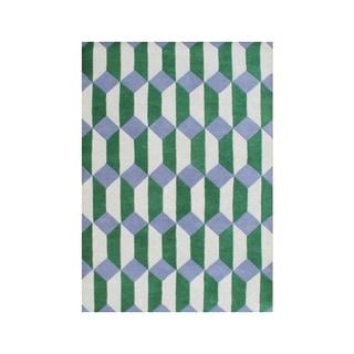 Alliyah Handmade New Zealand Blend Wool Classic Green Geometric Rug ( 5' x 8' )