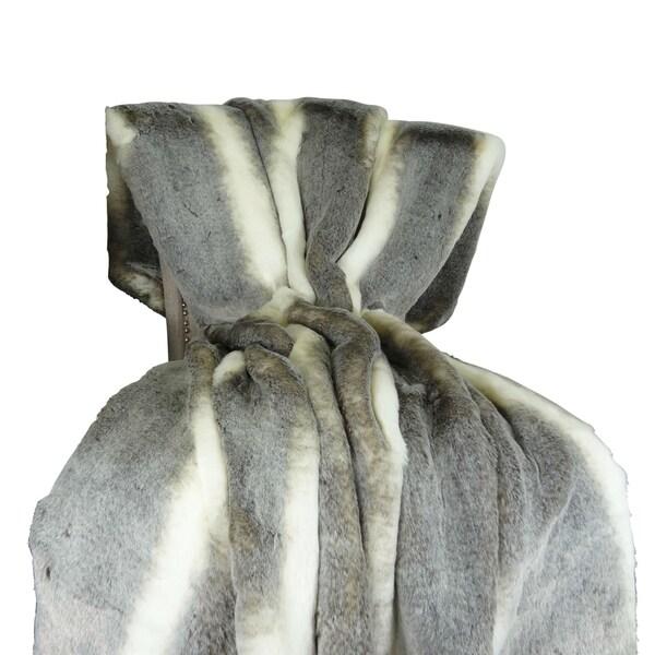 Plutus Tissavel Chinchilla Faux Fur Handmade Throw / Blanket