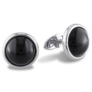 Miadora High Polished Sterling Silver Round Cabochon-Cut Black Onyx Halo Cufflinks