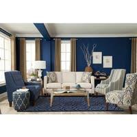 Corpus Christi Hand-tufted Blue New Zealand Wool and Art Silk Rug - 5' x 8'