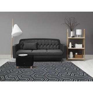 "Hand-tufted Corpus Christi Grey New Zealand Wool and Art Silk Rug (7'6 x 9'6) - 7'6"" x 9'6"""