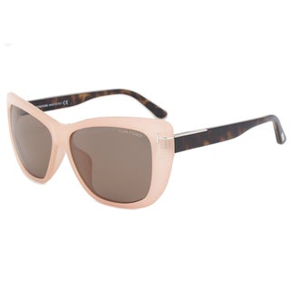 Tom Ford FT0434 Women's Pink Frame Crystal Brown Lens Sunglasses