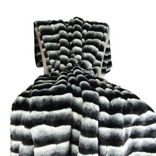 Plutus Wild Chinchilla Faux Fur Handmade Throw / Blanket