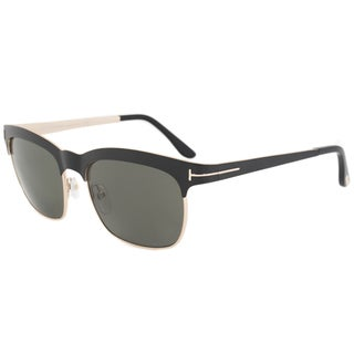Tom Ford Elena FT0437 Unisex Matte Black and Rose Gold Frame Polarized Green Lens Sunglasses