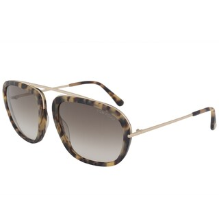 Tom Ford Johnson FT0453 Men's Matte Tortoise and Rose Gold Frame Brown Gradient Lens Sunglasses