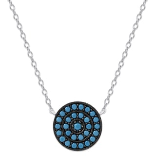 Dolce Giavonna Sterling Silver Simulated Nano Turquoise Circle Necklace