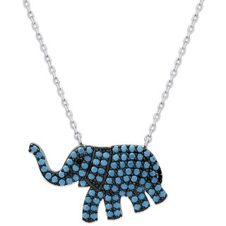 Dolce Giavonna Sterling Silver Simulated Nano Turquoise Elephant Necklace