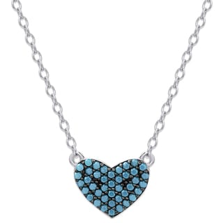 Dolce Giavonna Sterling Silver Simulated Nano Turquoise Heart Necklace
