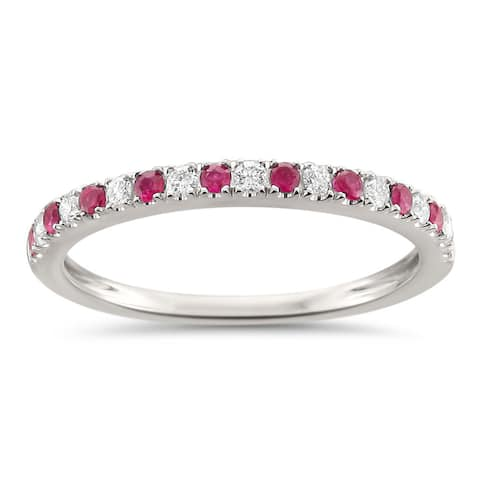 Montebello 14KT White Gold 1/4ct TGW Ruby and Diamond Wedding Band - Red