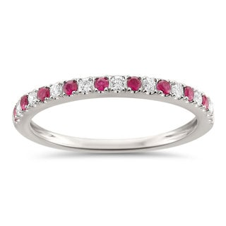 Montebello Jewelry 14k White Gold 1/4ct TGW Ruby and White Diamond Wedding Band G-H, VS1-VS2)