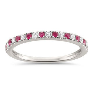 Montebello Jewelry 14k White Gold 1/4ct TGW Ruby and White Diamond Wedding Band G-H, VS1-VS2)
