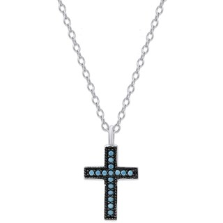 Dolce Giavonna Sterling Silver Simulated Nano Turquoise Cross Necklace