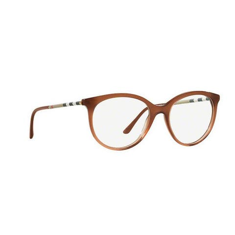 Burberry Women's BE2244Q 3173 52 Round Plastic Brown Clear Eyeglasses