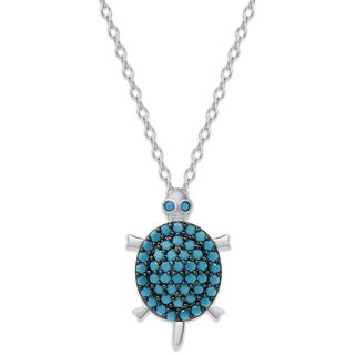 Dolce Giavonna Sterling Silver Simulated Nano Turquoise Turtle Necklace