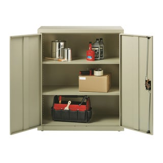 Iron Horse Putty Metal Storage Cabinet With 3 Adjustable Shelves