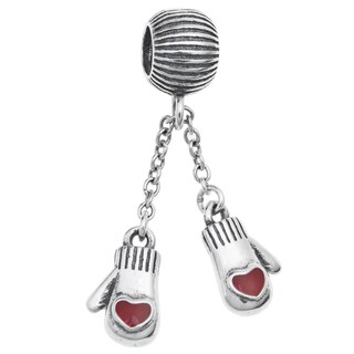 Queenberry Sterling Silver Red Enamel Christmas Heart Gloves Chain Dangle European Bead Charm