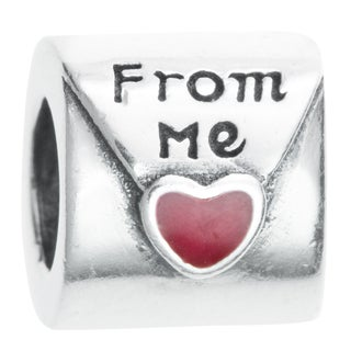 Queenberry Sterling Silver Red Enamel Love Letter From Me European Bead Charm