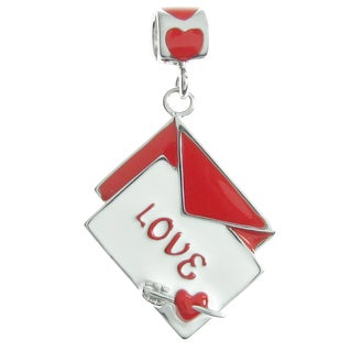 Queenberry Sterling Silver Valentine Love Letter Mail Red White Enamel Dangle European Bead Charm