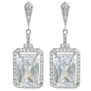 Queenberry Sterling Silver Rectangle Clear CZ Crystal Dangle Earrings