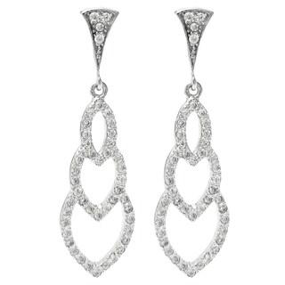 Queenberry Sterling Silver Clear Cubic Zirconia Triple Heart Love Dangle Drop Stud Post Earrings