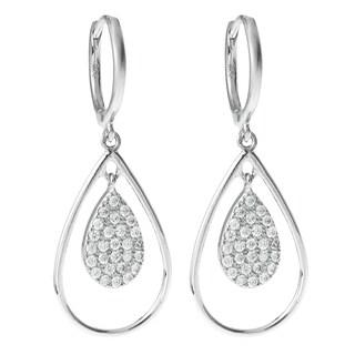 Queenberry Sterling Silver Cubic Zirconia Teardrop Dangle Chandelier Earwire Hoop Earrings