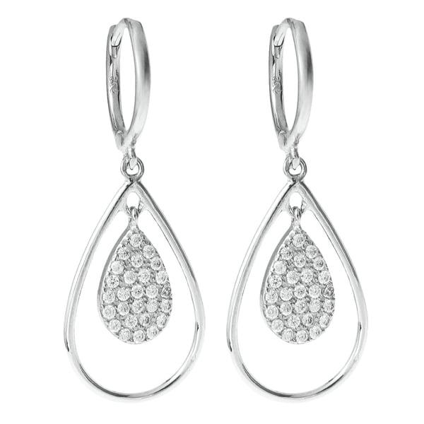 Queenberry Sterling Silver Cubic Zirconia Teardrop Dangle Chandelier Hoop Earrings