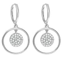 Queenberry Sterling Silver Round Cubic Zirconia Dangle Chandelier Hoop Earrings