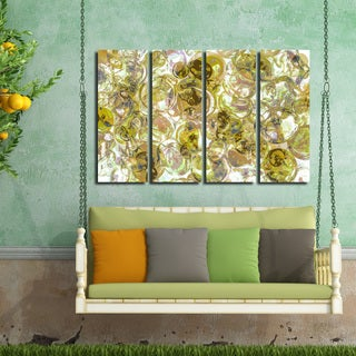 Ready2HangArt Indoor/Outdoor 4 Piece Wall Art Set (32 x 48) 'Color Clusters IV' in ArtPlexi by NXN Designs - YELLOW