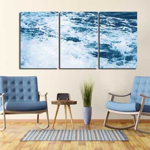 Ready2HangArt Indoor/Outdoor 3 Piece Wall Art Set (24 x 48) 'Tumultuous Waters II' in ArtPlexi by NXN Designs - Blue