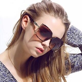 Designer Inspired Square Metal and Acrylic Frame Polarized Sunglasses