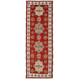 Hand-knotted Royal Kazak Red Wool Rug - 2'9 x 8'0