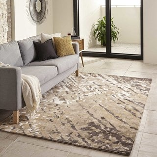 Momeni Zen Brown Hand-Tufted Wool and Viscose Rug - 5' x 8'