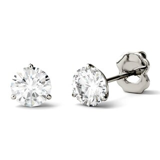 Charles & Colvard 14k Gold 1ct DEW Round Forever One Colorless Moissanite Martini Stud Earrings