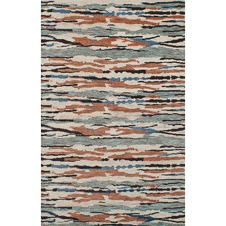 eCarpetGallery Arlequin Brown/Ivory Wool Hand-knotted Rug (4'10 x 7'10)