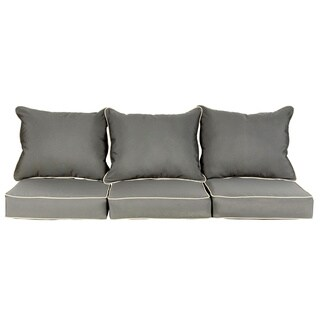 Beckworth Sunbrella Charcoal/ Canvas Indoor/ Outdoor Corded Pillow and Cushion 6-pc Sofa Set