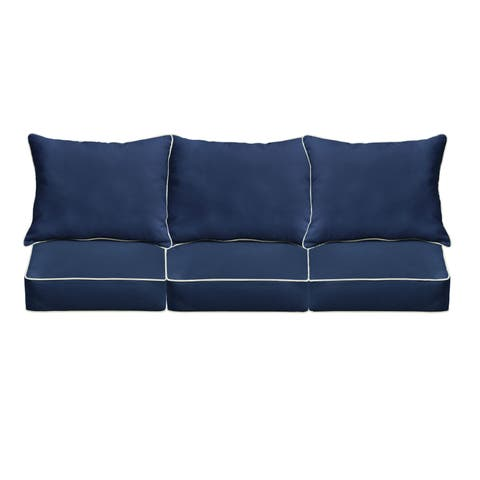Sunbrella Navy/ Canvas Indoor/ Outdoor Corded Pillow and Cushion 6-pc Sofa Set