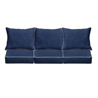 Copeland Sunbrella Navy/ Canvas Indoor/ Outdoor Corded Pillow and Cushion 6-pc Sofa Set