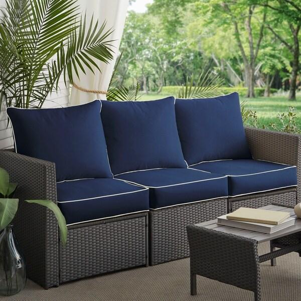 Sunbrella Navy Loveseat: Shop Sunbrella Navy/ Canvas Indoor/ Outdoor Corded Pillow