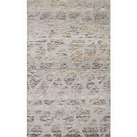 ecarpetgallery Grey Sari Silk Hand-knotted Rug (5'0 x 8'2)