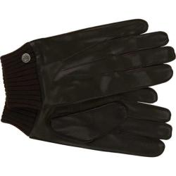 Men's Ben Sherman Leather Gloves with Knit Trim Brown