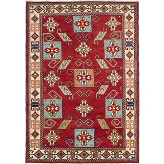 ecarpetgallery Royal Kazak Red Wool Hand-knotted Rug (5'7 x 7'10)