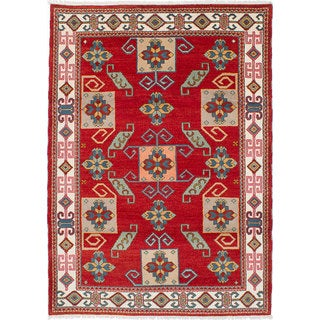 ecarpetgallery Royal Kazak Red Wool Hand-Knotted Rug (5'7 x 7'9)