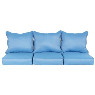 Trabert Sunbrella Regatta Blue Indoor/ Outdoor Corded Pillow and Cushion 6-pc Sofa Set