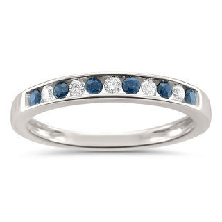Montebello Jewelry 18k White Gold 1/4ct TGW Blue Sapphire and White Diamond Wedding Band